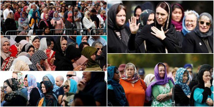 মুসলিম নারীদের প্রতি সংহতি জানাতে হিজাব পড়ে মসজিদে হাজারো অমুসলিম নারী