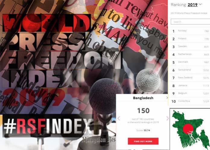 বিশ্ব সংবাদমাধ্যম স্বাধীনতা সূচকে চার ধাপ নিচে নেমেছে বাংলাদেশ